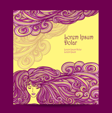 perfumer: Template Flyer or label with Beautiful Girl with long curly hair in yellow lilac for barbershop or hair dye or for advertising beauty salon Illustration