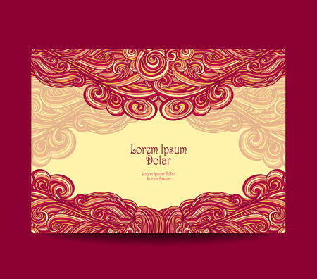coloration: Template label or flyer or visit cards or discount cards with abstract wave in red yellow