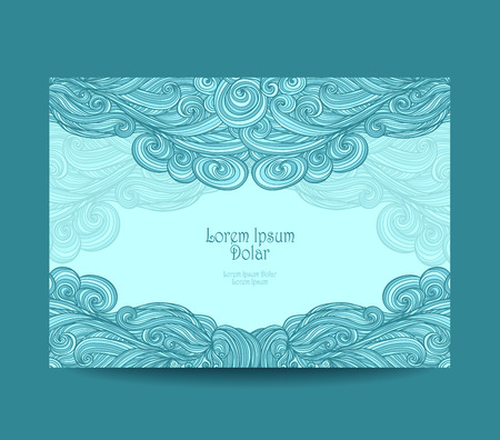 coloration: Template label or flyer or visit cards or discount cards with abstract wave in marine blue
