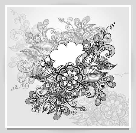 Doodle flowers frame with cloud in grey white black colors for message something or congratulation or invitation