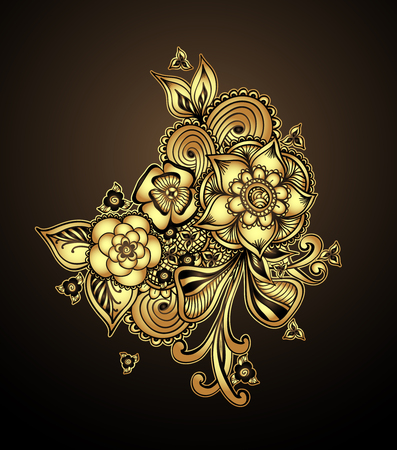 perfumer: Bouquet doodle flowers floral elements Gold on black for decorate different things