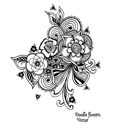 stamping: Bouquet doodle flowers floral elements black white in zentangle style for decorate different things or coloring book
