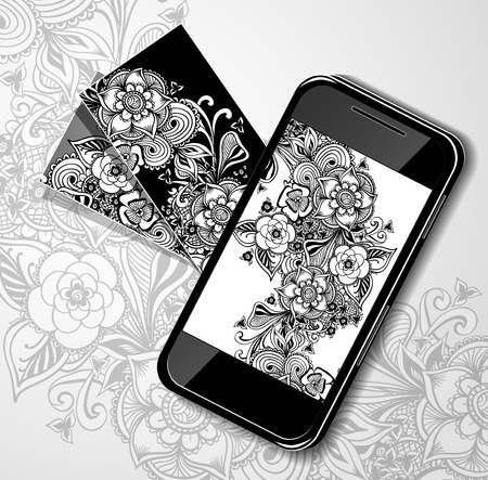 on decorate mobile telephone: Creative design screen Mobile telephone and visit card black white doodle flowers in zentangle style