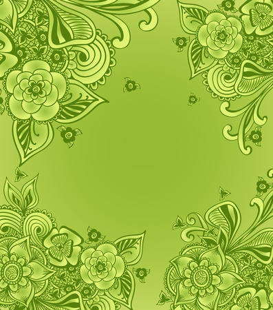 perfumer: Frame or background with doodle flowers or floral elements in green for package advertising tea cosmetic perfumer underwear