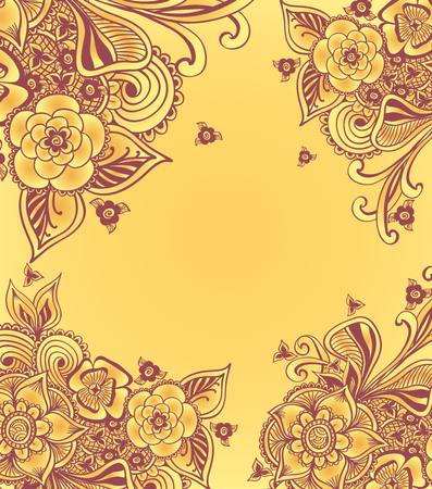 perfumer: Frame or background with doodle flowers or floral elements in yellow for package advertising cosmetic perfumer underwear