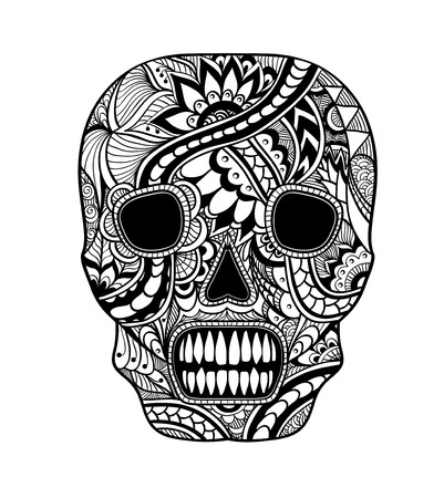 decorate: Decorate Skull painted ornament black on white for tattoo or for decorated clothes or party of Halloween or different things Illustration