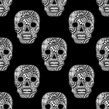 decorate: Seamless pattern with Decorate Skull painted ornament white on black for decorated clothes or party of Halloween or different things