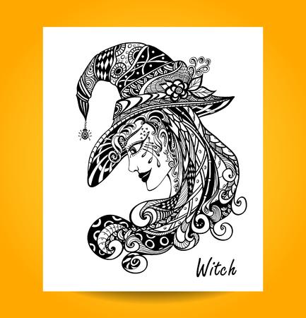 persone nere: Strega nel cappello in zentagle ornamento stile mano nero su bianco per la decorazione di Halloween o per coloranti libri