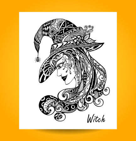 white lace: Witch in hat in zentagle ornament style handmade black on white for decoration of Halloween or for colorings books