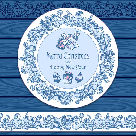 ilex: Circle frame and border from Christmas elements on blue wood background for invitation or congratulation with Merry Christmas and Happy New Year or for Christmas sale Illustration