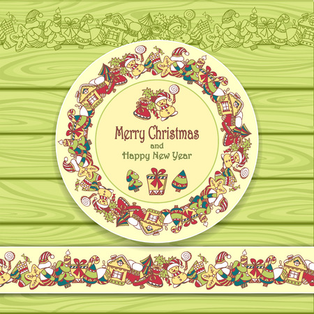 Circle frame and border from Christmas elements on Light green wood background for invitation or congratulation with Merry Christmas and Happy New Year or for Christmas sale Stock Illustratie