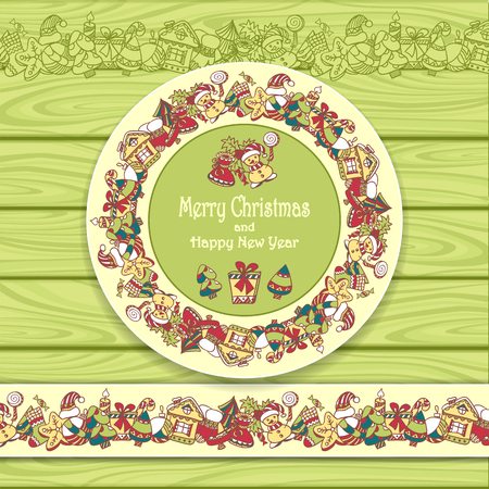 ilex: Circle frame and border from Christmas elements on Light green wood background for invitation or congratulation with Merry Christmas and Happy New Year or for Christmas sale Illustration