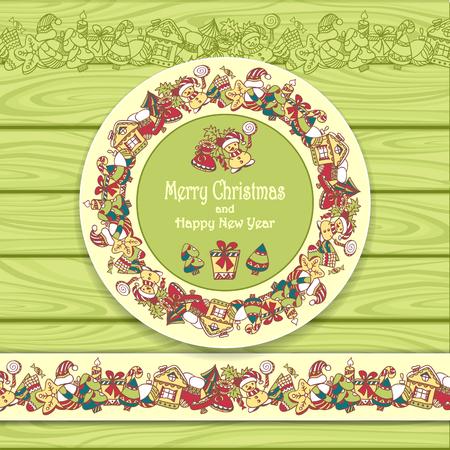 galletas de navidad: Marco del círculo y la frontera de elementos de la Navidad sobre fondo claro de madera verde de la invitación o felicitación con Feliz Navidad y Feliz Año Nuevo o de la Navidad para la venta Vectores