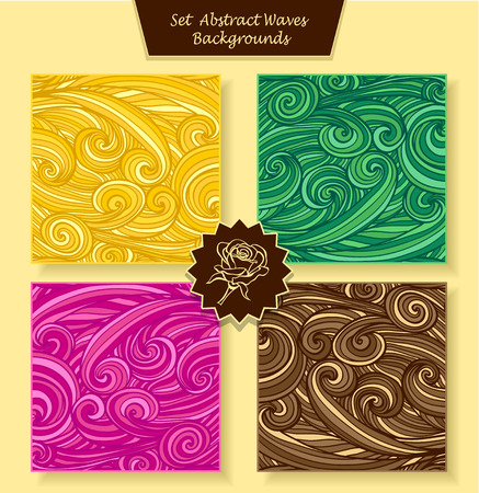 green hair: Set Abstract waves or circle hair background in magenta orange yellow green brown colors for banners or for package or template for advertising cosmetic perfumer