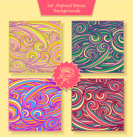 perfumer: Set Abstract waves or circle hair background in different colors for banners or for package or template for advertising cosmetic perfumer