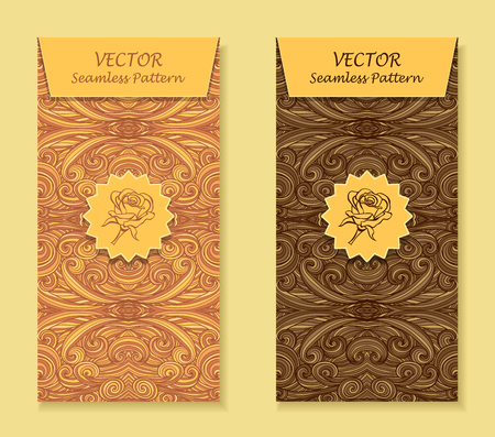 package design: Set Vertical banners with abstract handmade waves rose in beige brown for package or template for advertising cosmetic perfumer sweet chocolate tea coffee Illustration