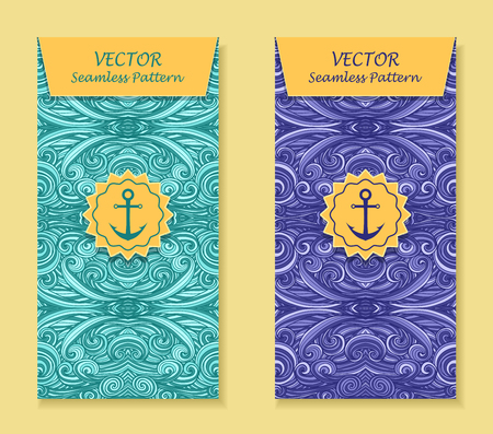 perfumer: Set Vertical banners with abstract handmade waves anchor in blue marine for package or template for advertising cosmetic perfumer Illustration