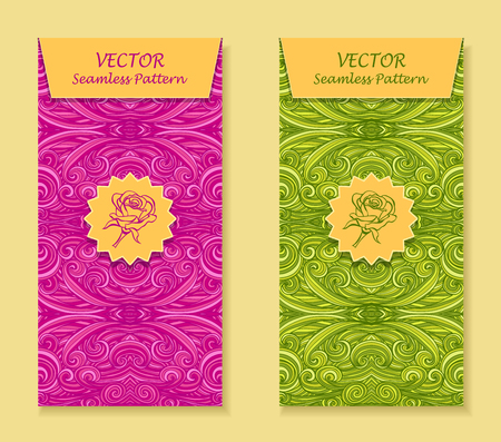 perfumer: Set Vertical banners with abstract handmade waves rose in magenta light green for package or template for advertising cosmetic perfumer Illustration