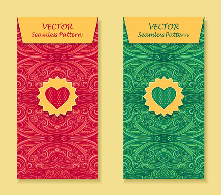 perfumer: Set Vertical banners with abstract handmade waves heart in red green for package or template for advertising cosmetic perfumer tea