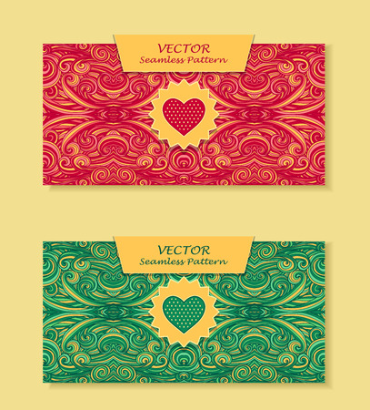 perfumer: Set Horizontal banners with abstract handmade waves heart in red green for package or template for advertising cosmetic perfumer tea