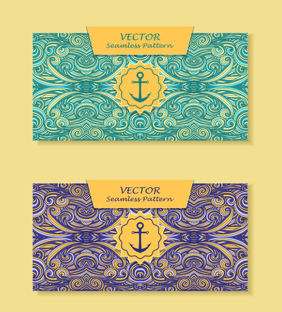 perfumer: Set Horizontal banners with abstract handmade waves anchor in blue marine beige for package or template for advertising cosmetic perfumer