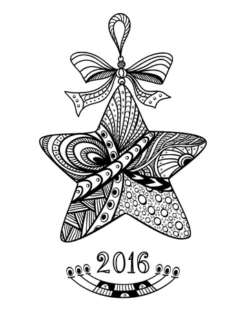 post card: Christmas Star in Zen-doodle style black on white coloring page for coloring book or creative Post Card or for decoration of package, window, door in shop or for Christmas or New Year things Illustration