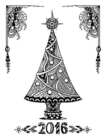 post card: Christmas Tree in Zen-doodle style black on white coloring page for coloring book or creative Post Card or for decoration of package, window, door in shop or for Christmas or New Year things