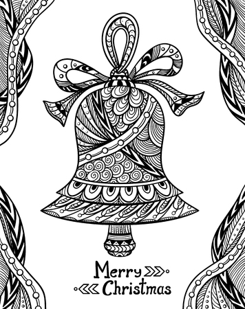 Christmas Coloring Book Bell In Zen Doodle Style Black On White Page
