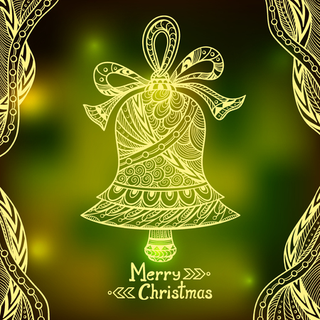 door bell: Christmas Bell in Zen-doodle style on blur background in green city Lights creative Post Card or for decoration of window, door in shop or for decoration Christmas or New Year things