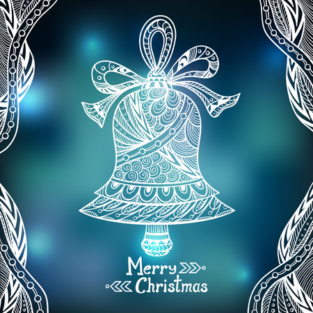 city lights: Christmas Bell in Zen-doodle style on blur background in blue city Lights creative Post Card or for decoration of window, door in shop or for decoration Christmas or New Year things