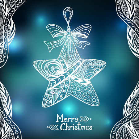 city lights: Christmas Star in Zen-doodle style on blur background in blue city Lights creative Post Card or for decoration of window, door in shop or for decoration Christmas or New Year things