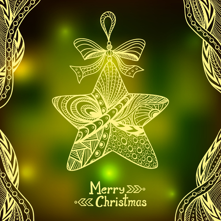 city lights: Christmas Star in Zen-doodle style on blur background in green city Lights creative Post Card or for decoration of window, door in shop or for decoration Christmas or New Year things Illustration