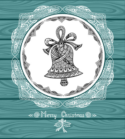 door bell: Christmas Bell in Zen-doodle style on blur background in blue city Lights creative Post Card or for decoration of window, door in shop or for decoration Christmas or New Year things