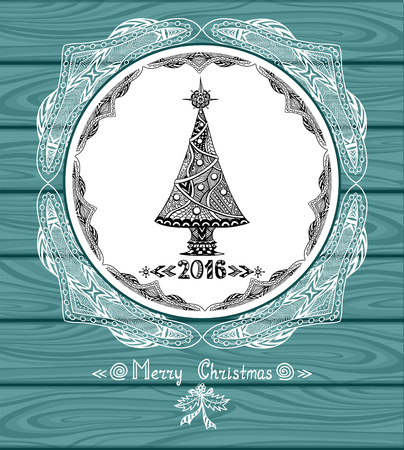 post card: Christmas Tree in circle in Zen-doodle style with lace on blue wood background or creative Post Card or for decoration of package, door in shop or for Christmas or New Year things Illustration