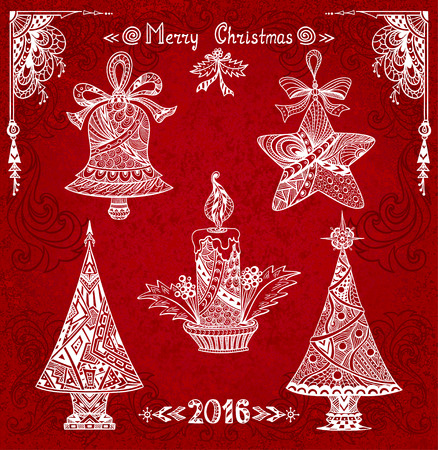 Set Christmas elements in Zen-doodle style white on grunge red background for creative Post Card or for decoration of package, window, door in shop or for Christmas or New Year things