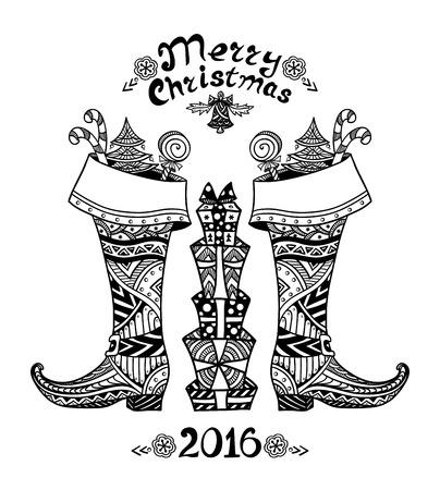 botas de navidad: Botas de la Navidad con el paquete de regalo en estilo Zen-doodle negro en la página coloración blanco para dar color o tarjeta creativa Post o para Navidad o Año Nuevo para Venta Vectores