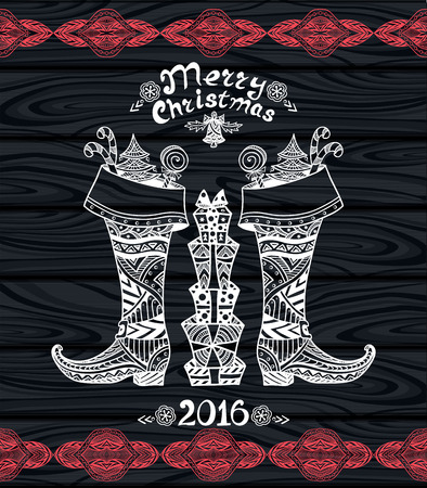 botas de navidad: Botas de la Navidad con el paquete de regalo en estilo Zen-doodle blanco sobre negro de madera o tarjeta creativa Post o para Navidad o Año Nuevo para Venta