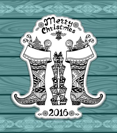 botas de navidad: Botas de la Navidad con el paquete de regalo en estilo Zen-doodle en la madera azul o postal creativo o para Navidad o Año Nuevo para Venta