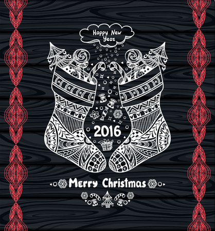 post card: Christmas Stocks with gift package in Zen-doodle style white on black wood or creative Post Card or for Christmas or for New Year Sale
