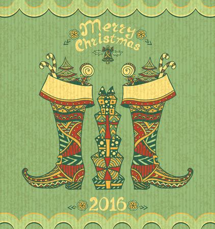 botas de navidad: Botas de Navidad con los regalos en estilo Zen-doodle en el fondo del grunge de oliva para Navidad o A�o Nuevo Venta o postal creativa para Vectores