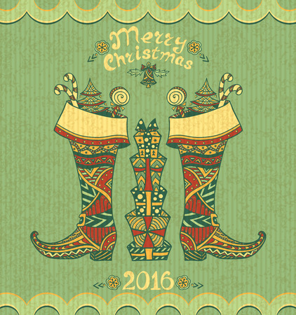 post card: Christmas Boots with gifts in Zen-doodle style on grunge olive background for Christmas or for New Year Sale or creative Post Card Illustration