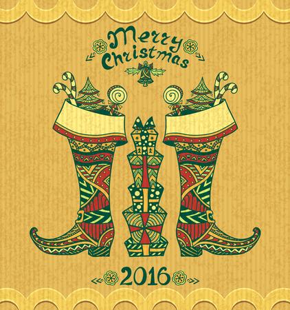 botas de navidad: Botas de Navidad con los regalos en estilo Zen-doodle en el grunge fondo beige para Navidad o Año Nuevo Venta o postal creativa para Vectores