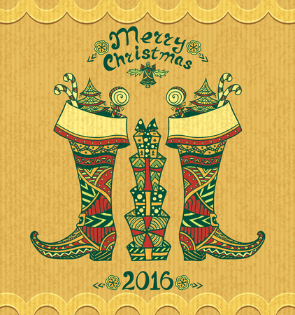 botas de navidad: Christmas Boots with gifts in Zen-doodle style on grunge beige background for Christmas or for New Year Sale or creative Post Card Vectores