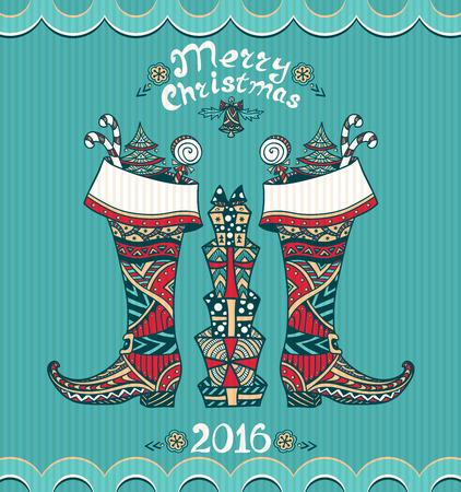 botas de navidad: Botas de Navidad con los regalos en estilo Zen-doodle en fondo azul de Navidad o Año Nuevo Venta o postal creativa para