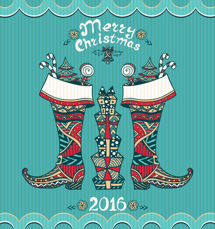 botas de navidad: Christmas Boots with gifts in Zen-doodle style on blue background for Christmas or for New Year Sale or creative Post Card Vectores