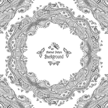 Abstract Circle Frame With Pattern Background In Zendoodle Style Cool Zendoodle Patterns