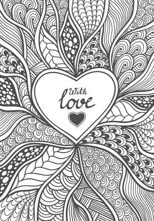 fondo blanco y negro: trama abstracta hecha a mano Herat en estilo Zen-doodle negro en la página coloración blanco para dar color o una tarjeta postal creativa para el día de San Valentín Vectores