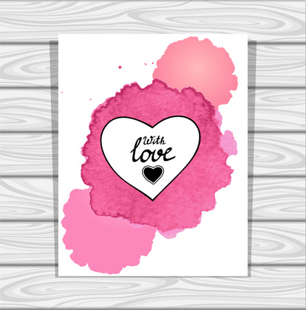 post card: Template heart frame in pink lilac white watercolors stain on grey wood background for flyer or creative Post Card for Valentines Day
