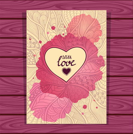 post card: Template with Zen-doodle style pattern and heart frame beige lilac with watercolors stain on grey wood background for flyer or creative Post Card for Valentines Day