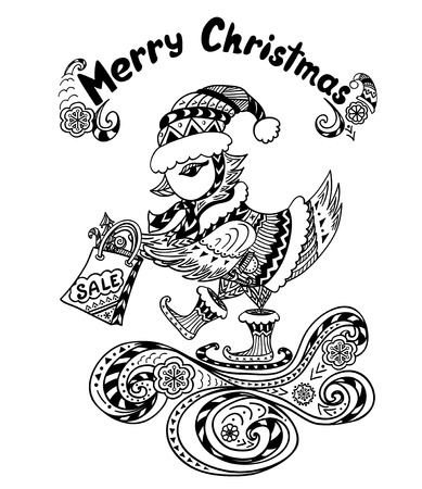 christmas bird: Christmas Bird with gift package in Zen-doodle style black on white coloring page for coloring book or creative Post Card or for Christmas or for New Year Sale